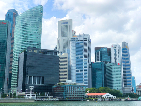 SINGAPORE:21 Jan 2019 - Skyline of Singapore central business district Cityscape near Raffles Place and Singapore River