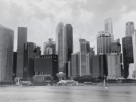 SINGAPORE:21 Jan 2019 - B&W Image of Singapore central business district Cityscape near Raffles Place and Singapore River