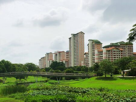 Singapore housing blocks (HDB) across green field with pond and bridge