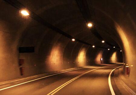 Empty underground tunnel for vehicle