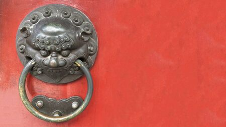 Traditional chinese door knob with red background - single
