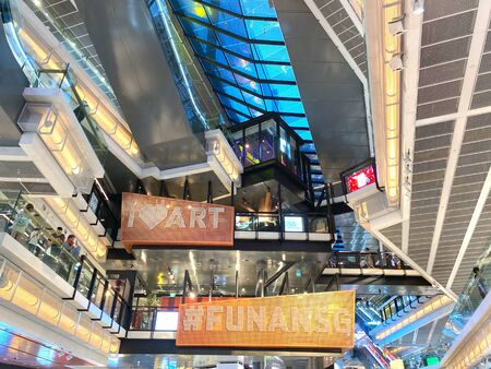Singapore: 31 December 2019 - Interior of Funan Digital Mall, an integrated development comprises a retail component, two office blocks and service residence Stock Photo