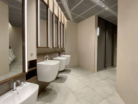 Interior of modern male toilet with basins and mirror