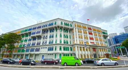 Singapore: 7 December 2019 - MCCY/MICA Building (Old Hill Street Police Station), a six-storey neo-Classical building located at the junction of Hill Street and River Valley Road.
