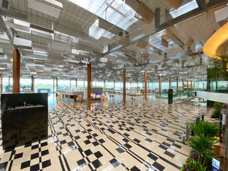 SINGAPORE, 4 APRIL 2020: Internal of Changi Airport Terminal 3 without usual crowd due to travel restriction posed by COVID-19