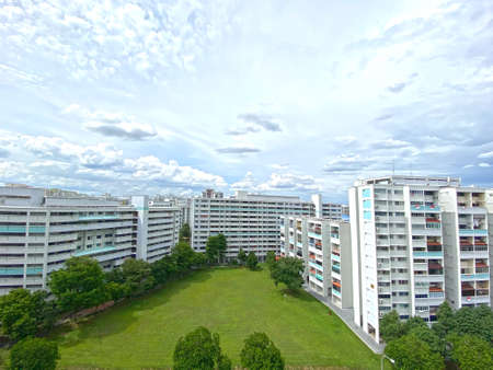Residential apartment/ flat under cloudy blue sky in Singapore
