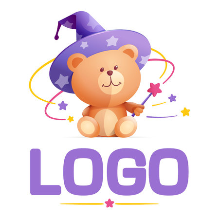 oso de peluche: Vector elemento de diseño de la plantilla de logotipo, aplicaciones o web