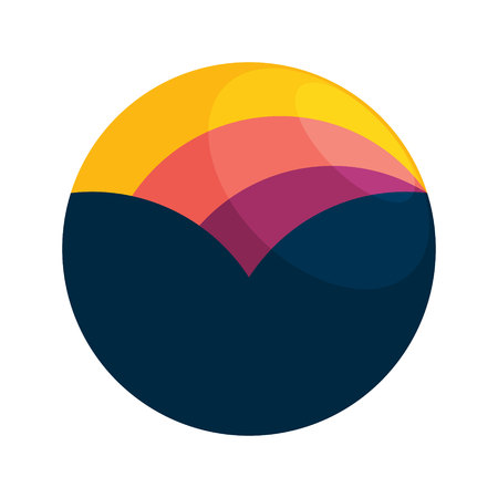 sunset: Sphere trendy, vibrant and colorful concept. Vector design template elements for your application or company branding.