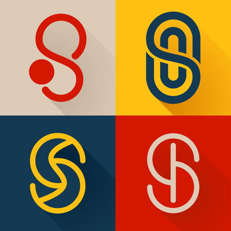 business words: Letter trendy, flat colorful concept. Vector design template elements for your application or corporate identity. Illustration