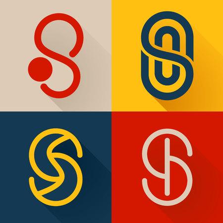 lettre s: Lettre � la mode, color� concept plat. Template vecteur de conception �l�ments pour votre application ou de l'identit� d'entreprise.