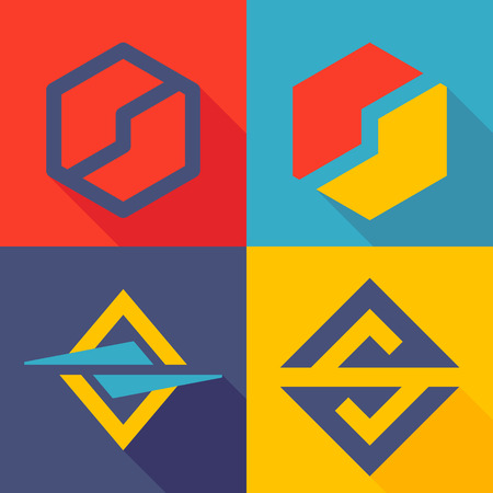 Letter trendy, flat colorful concept. Vector design template elements for your application or corporate identity. Ilustração