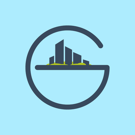 city icon: Letter trendy, flat colorful concept. Vector design template elements for your application or corporate identity. Illustration