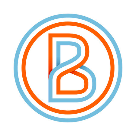 b: Letter trendy, flat colorful concept. Vector design template elements for your application or corporate identity. Illustration