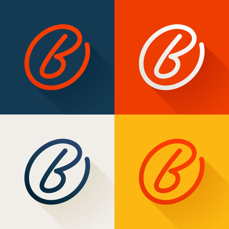 letter word: Letter trendy, flat colorful concept. Vector design template elements for your application or corporate identity. Illustration