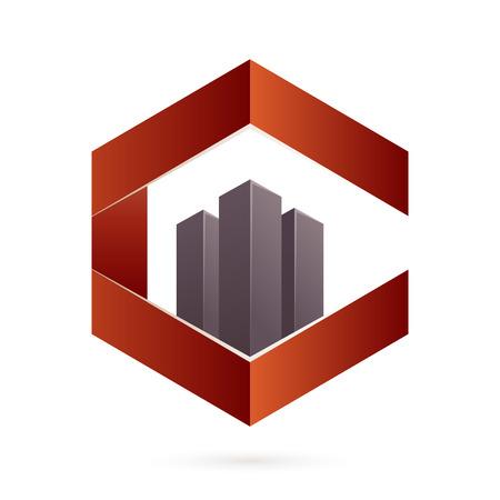 logo batiment: Volume coloré concept Lettre. Template vecteur de conception éléments pour votre application ou de l'identité d'entreprise.