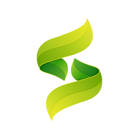 leaf logo: Letter volume colorful concept. Vector design template elements for your application or corporate identity.