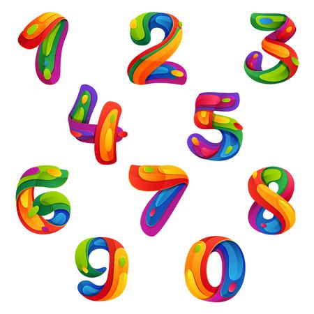 nombres: Nombre multicolore vecteur �l�ments de mod�le de conception pour votre application ou de l'identit� d'entreprise. Illustration