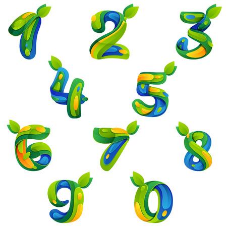 テンプレート要素で、アプリケーションや企業のアイデンティティに色とりどりのベクター デザインを番号します。