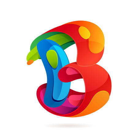 b: Letter multicolored vector design template elements for your application or corporate identity.