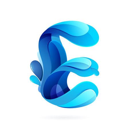 letter liquid water: Elementos multicolores modelo de carta de diseño vectorial para su aplicación o identidad corporativa.