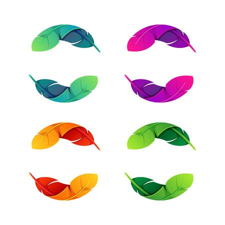 plumas de pavo real: Yin yang, colorido concepto volumen. Vector de elementos de plantilla de diseño para su aplicación o identidad corporativa.