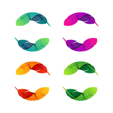 peacock feathers: Yin yang, volume colorful concept. Vector design template elements for your application or corporate identity.