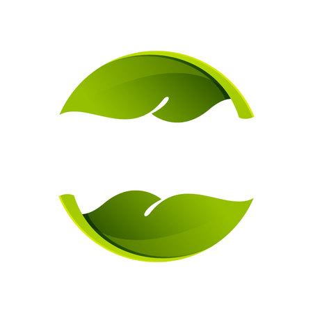feuilles arbres: Yin yang, le volume coloré concept. Template vecteur de conception éléments pour votre application ou de l'identité d'entreprise. Illustration