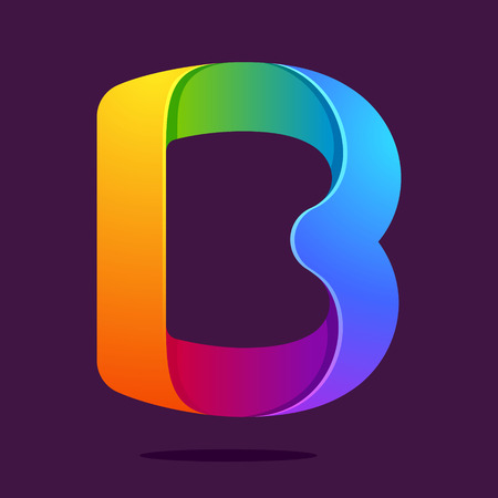 b: Letter volume colorful concept. Vector design template elements for your application or corporate identity.