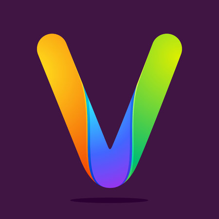 v alphabet: Letter volume colorful concept. Vector design template elements for your application or corporate identity.