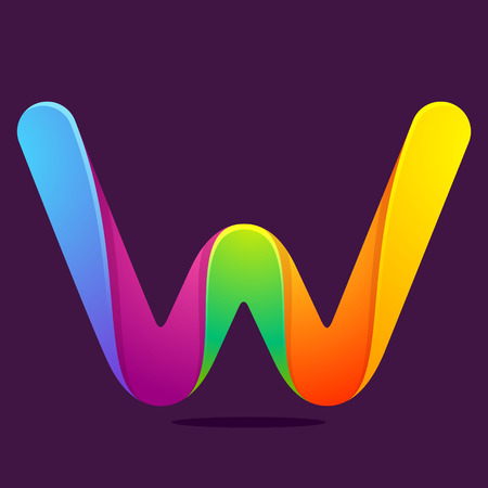 w: Letter volume colorful concept. Vector design template elements for your application or corporate identity.