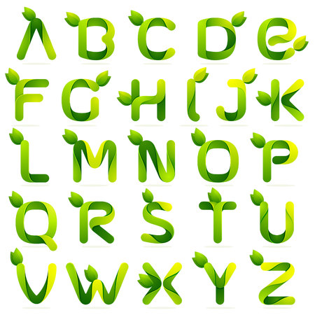 grass font: Letter volume colorful concept. Vector design template elements for your application or corporate identity.