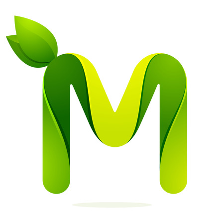 m: Letter volume colorful concept. Vector design template elements for your application or corporate identity.