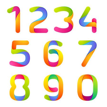 번호 볼륨 다채로운 개념. 응용 프로그램이나 기업의 정체성 벡터 디자인 서식 파일 요소.