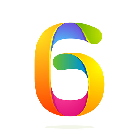 six: Number volume colorful concept. Vector design template elements for your application or corporate identity.