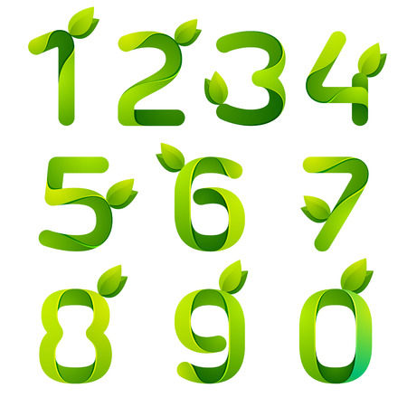 three leaves: Number volume colorful concept. Vector design template elements for your application or corporate identity.