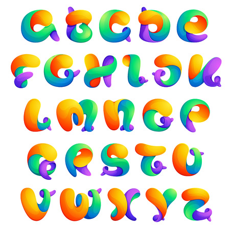 Colorful twisted line design alphabet. Font style, vector design template elements for your application or corporate identity. Ilustração