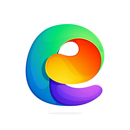 E letter colorful logo from a twisted line. Font style, vector design template elements for your application or corporate identity.