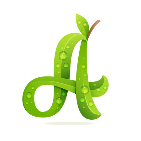 Letter A with green leaves and dew drops. Vector design template elements for your application or corporate identity.