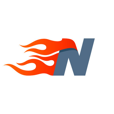 Letter N icon design template. Fast fire speed vector unusual letter. Vector design template elements for your application or company. Ilustração