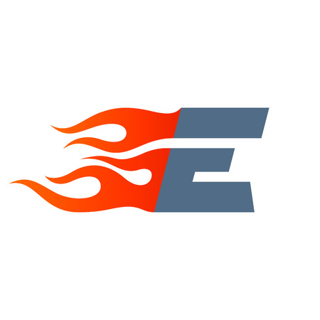 Letter E icon design template. Fast fire speed vector unusual letter vector design template elements for your application or company.