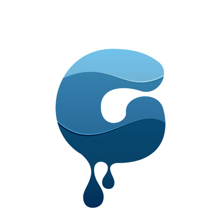 G letter icon with blue water and drops. Chemical and oil industries. Vector design template elements for your application or corporate identity.