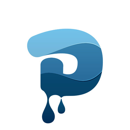 D letter icon with blue water and drops. Chemical and oil industries. Vector design template elements for your application or corporate identity.