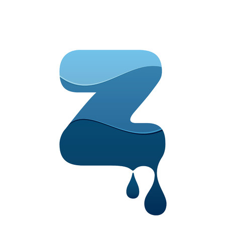 Z letter icon with blue water and drops. Chemical and oil industries. Vector design template elements for your application or corporate identity.