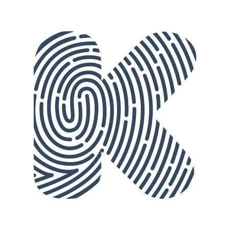 K letter line icon. Vector fingerprint design.Detective, Audit or Biometric access control system vector design template elements for your application or company. Ilustração
