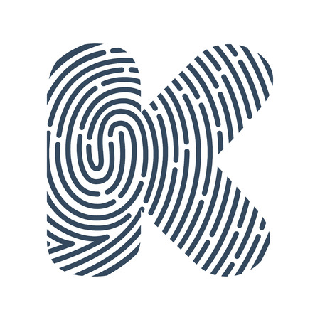K letter line icon. Vector fingerprint design.Detective, Audit or Biometric access control system vector design template elements for your application or company. Stock Illustratie