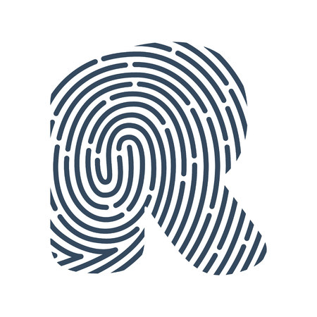 R letter line icon. Vector fingerprint design.Detective, Audit or Biometric access control system vector design template elements for your application or company. Çizim