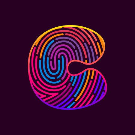 C letter line icon. Vector fingerprint design template elements. Detective, Audit or Biometric access control system.