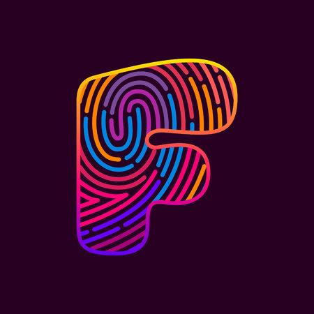F letter line icon. Vector fingerprint design template elements. Detective, Audit or Biometric access control system. Vectores