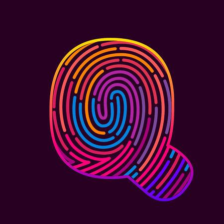 Letter Q line icon vector fingerprint design template elements. Detective, audit or biometrics access control system.