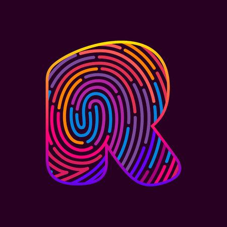 Letter R line icon vector fingerprint design template elements. Detective, audit or biometrics access control system.